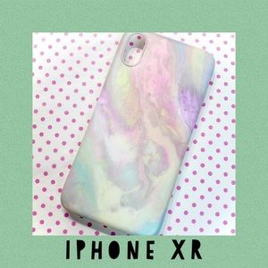 Pastel Rainbow Marble iPhone XR Case - Faux Stone